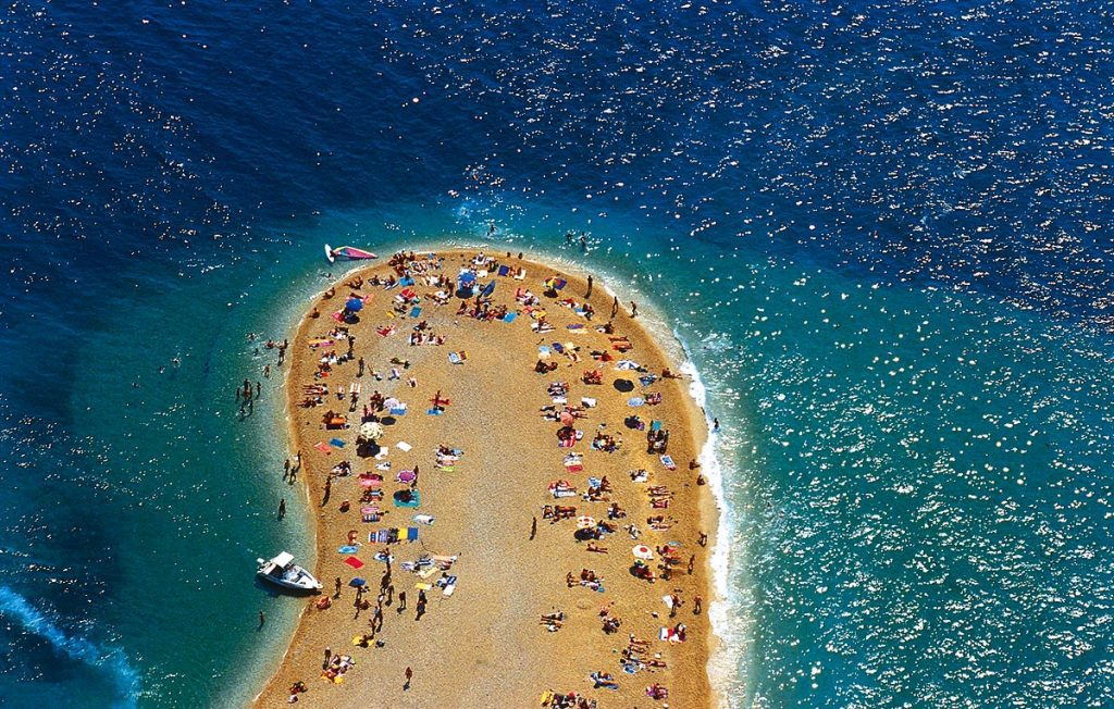 Brac Island and Zlatni Rat beach near Bol village