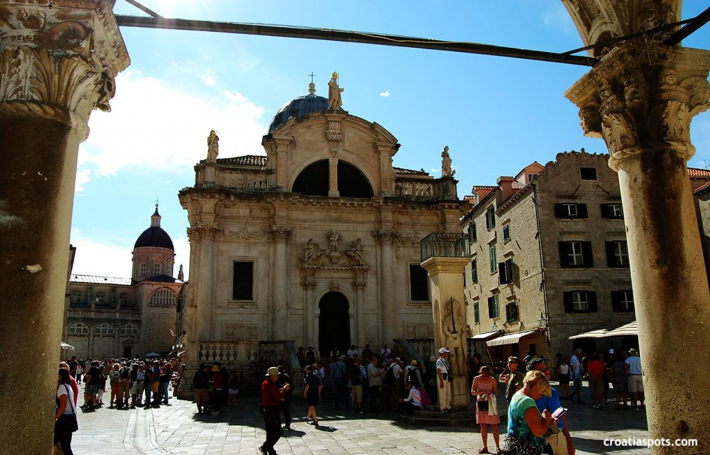 Stradun, Cathedral,  Sponza and Orlando Column in Old Town of Dubrovnik