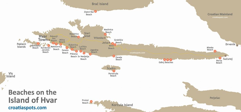 Map of the best beaches on the island of Hvar