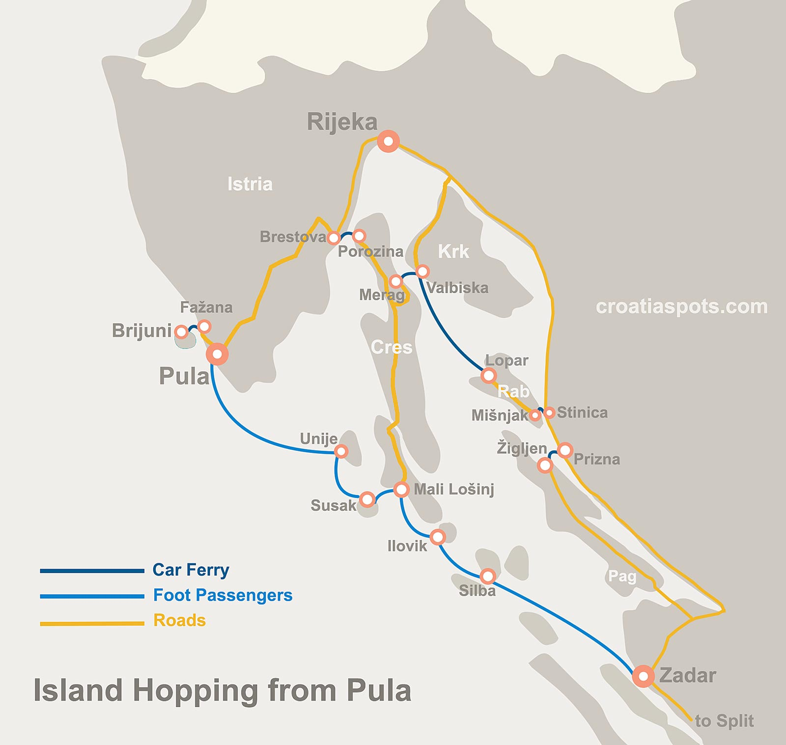 Map of Island Hopping from Pula to Zadar