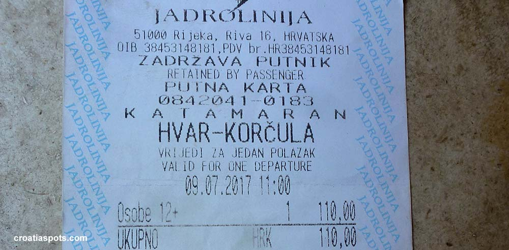 ferry ticket for local island hopping