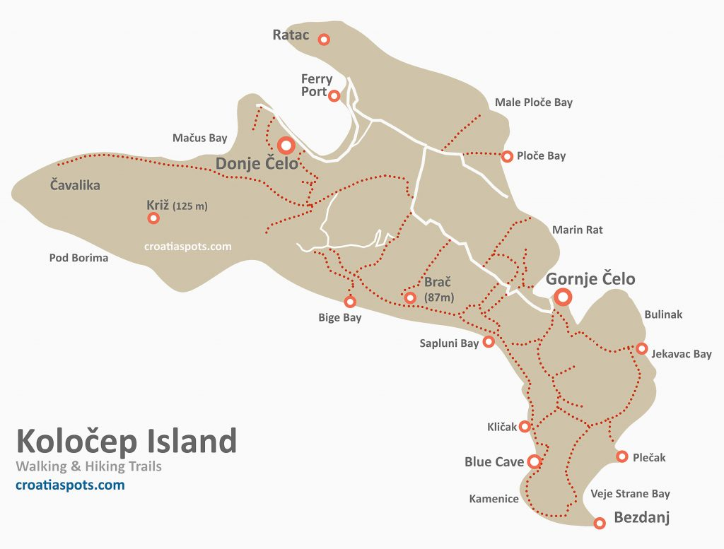 Map of  Kolocep Island with walking/hiking trails, bays, beaches and swimming spots