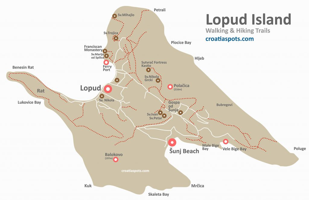 Map of Lopud Island with walking/hiking trails, bays, beaches and swimming spots