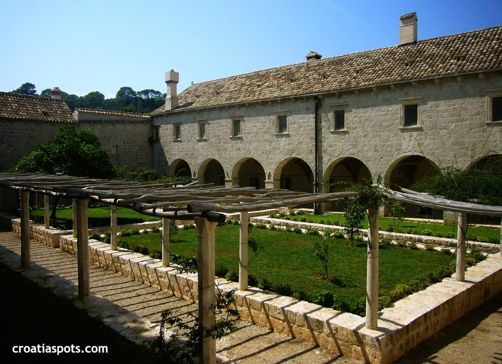 Benedictine Monastery at St Mary's Islet, Mljet island - inside cloister with garden