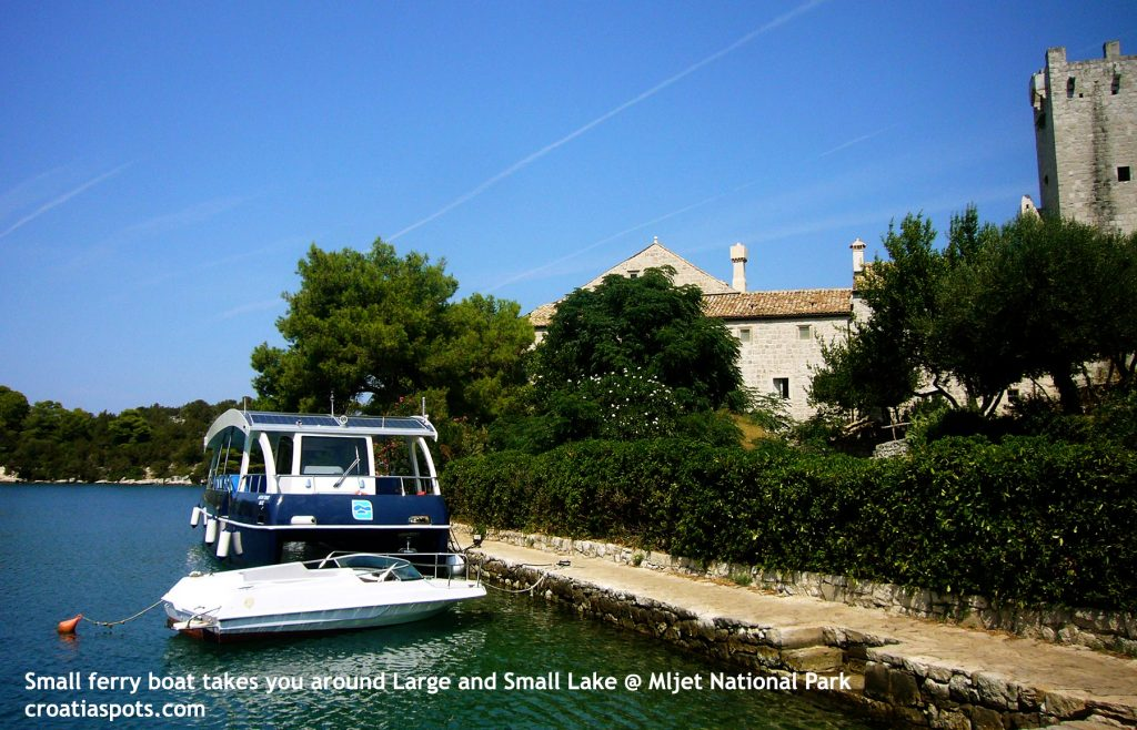 Small sun-powered ferry boat takes you around Large lake in Mljet National Park