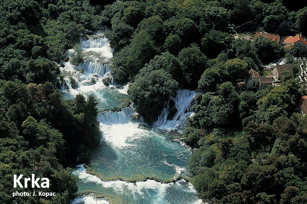 Krka River and its waterfalls is a part of Krka National Park