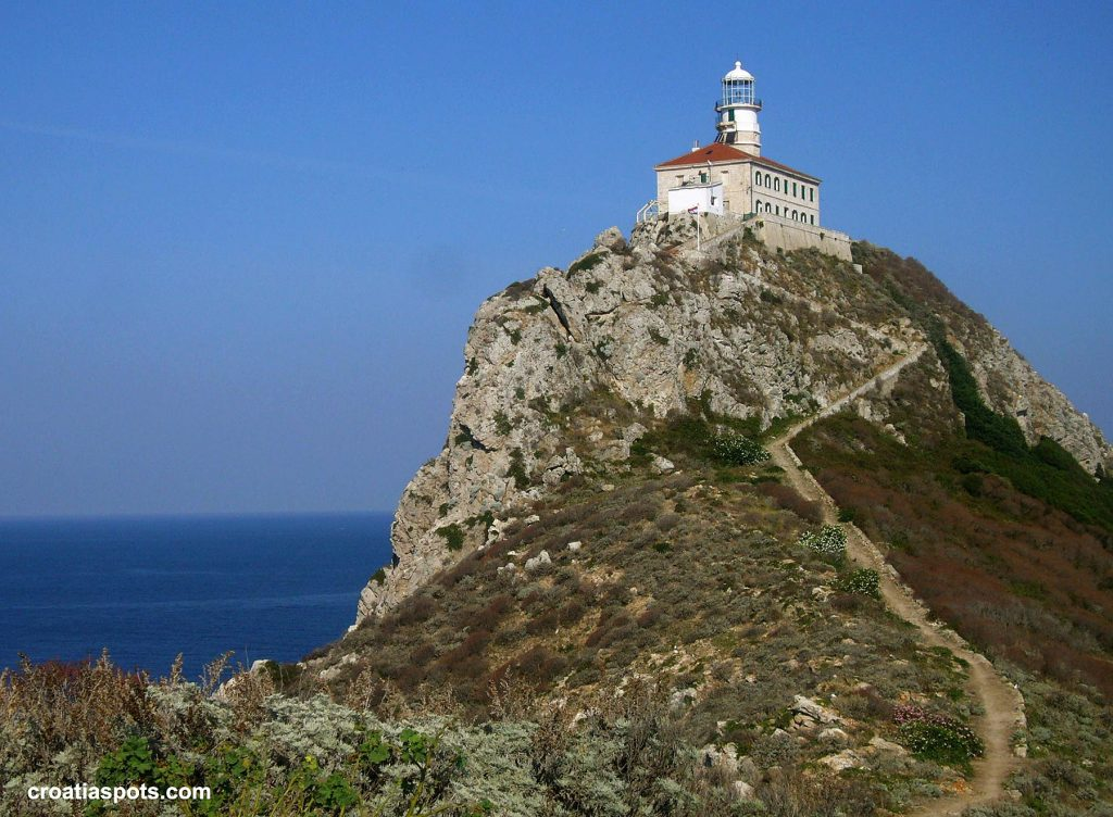 Palagruža Lighthouse on the top of the cliff