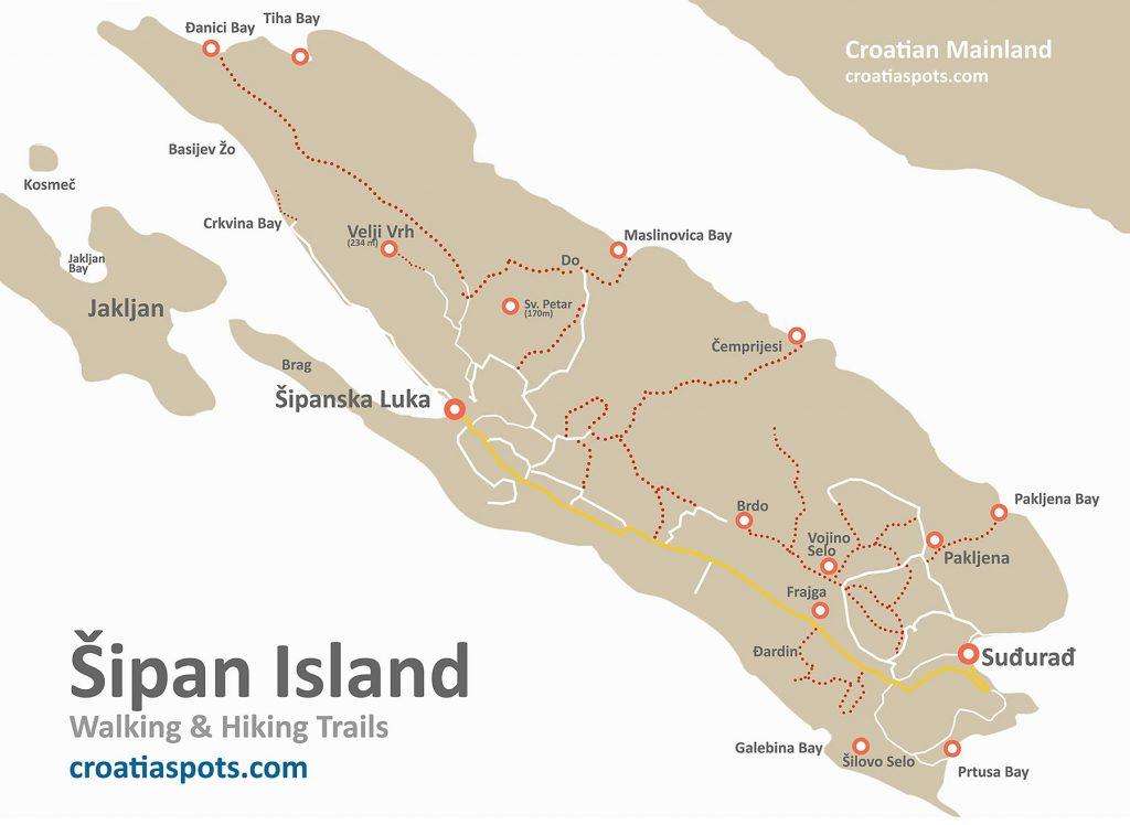 Walking Map of  Šipan Island