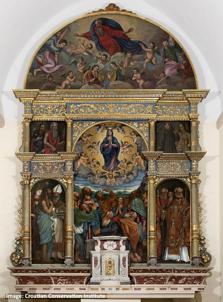 The 16th-century polyptych in St. Mary's parish church, in Pakljena bay, Sipanska Luka
