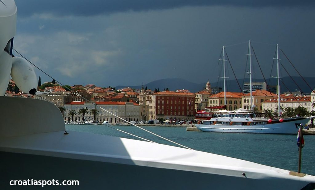 Lovely picturesque waterfront promenade in Split, Croatia