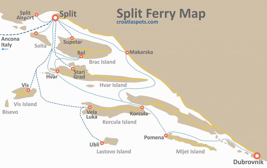 Map of all car ferries and fast catamaran ferry crossings to and from Split, Croatia