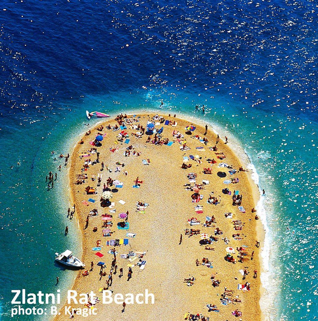 Busy Zlatni Rat, Bol, Brac island, Croatia